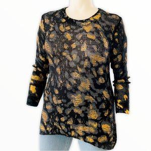 Davi & Dani Black and Gold Crochet Tunic Sweater